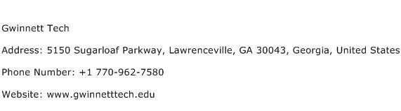 Gwinnett Tech Address Contact Number