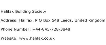 Halifax Building Society Address Contact Number