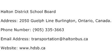 Halton District School Board Address, Contact Number of ...