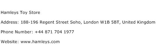 Hamleys Toy Store Address Contact Number