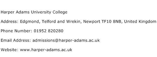 Harper Adams University College Address Contact Number