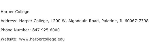 Harper College Address Contact Number