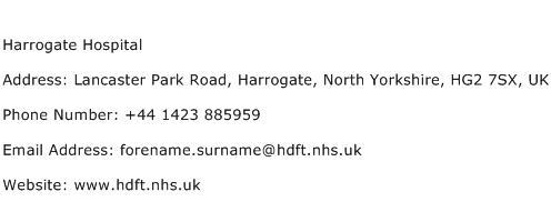Harrogate Hospital Address Contact Number
