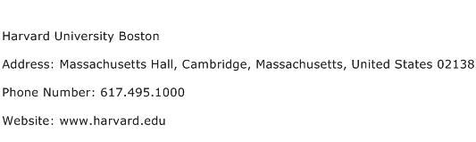 Harvard University Boston Address Contact Number
