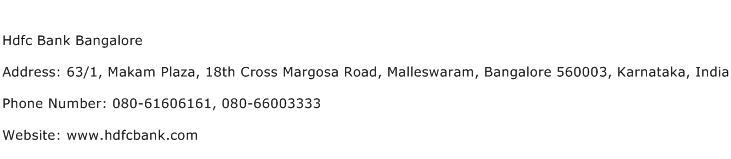 Hdfc Bank Bangalore Address Contact Number