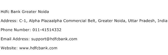 Hdfc Bank Greater Noida Address Contact Number