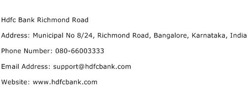 Hdfc Bank Richmond Road Address Contact Number