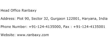 Head Office Ranbaxy Address Contact Number