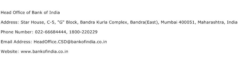 Head Office of Bank of India Address Contact Number