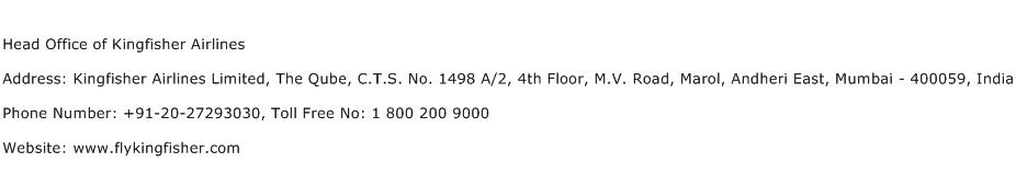 Head Office of Kingfisher Airlines Address Contact Number