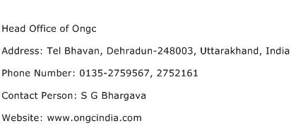 Head Office of Ongc Address Contact Number