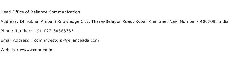 Head Office of Reliance Communication Address Contact Number