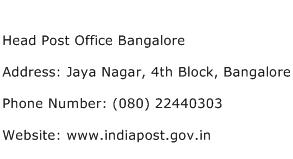 Head Post Office Bangalore Address Contact Number