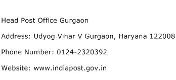 Head Post Office Gurgaon Address Contact Number