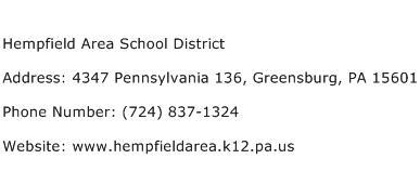 Hempfield Area School District Address Contact Number