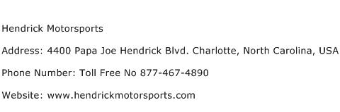 Hendrick Motorsports Address Contact Number