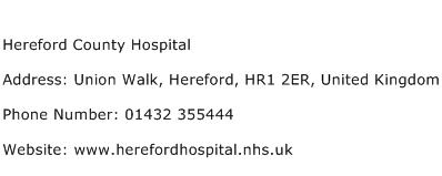 Hereford County Hospital Address Contact Number