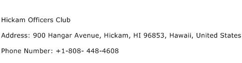 Hickam Officers Club Address Contact Number