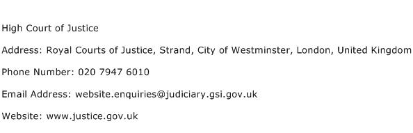 High Court of Justice Address Contact Number
