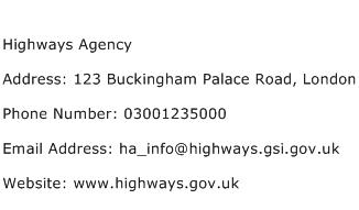 Highways Agency Address Contact Number