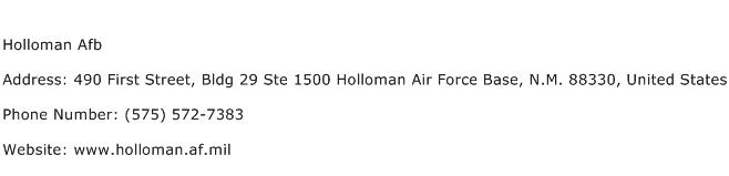 Holloman Afb Address Contact Number
