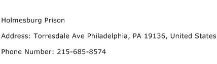 Holmesburg Prison Address Contact Number