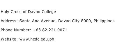 Holy Cross of Davao College Address Contact Number