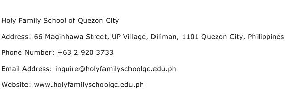 Holy Family School of Quezon City Address Contact Number