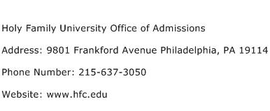 Holy Family University Office of Admissions Address Contact Number