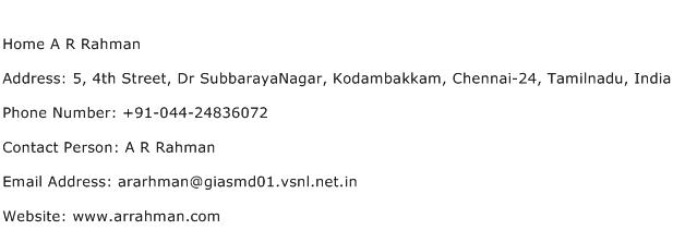 Home A R Rahman Address Contact Number