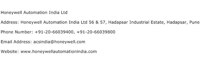 Honeywell Automation India Ltd Address Contact Number