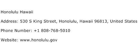 Honolulu Hawaii Address Contact Number