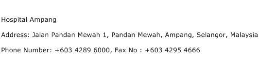 Hospital Ampang Address Contact Number