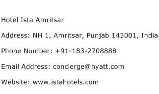 Hotel Ista Amritsar Address Contact Number