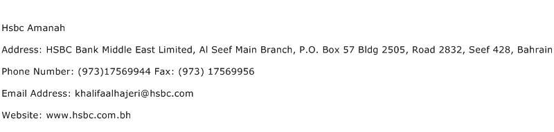 Hsbc Amanah Address Contact Number