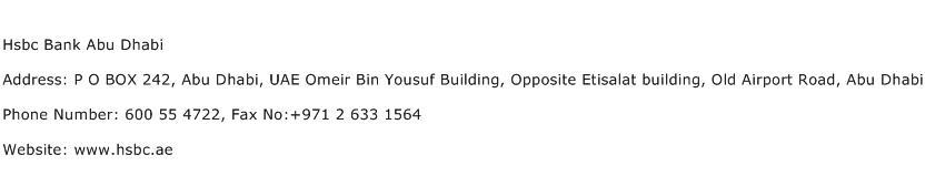 Hsbc Bank Abu Dhabi Address Contact Number