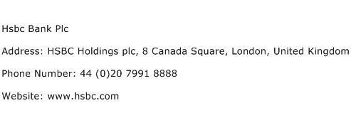 Hsbc Bank Plc Address Contact Number
