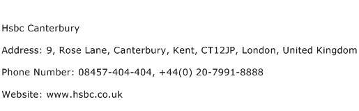 Hsbc Canterbury Address, Contact Number of Hsbc Canterbury