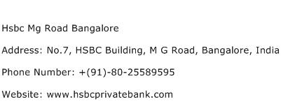 Hsbc Mg Road Bangalore Address Contact Number
