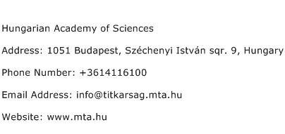 Hungarian Academy of Sciences Address Contact Number