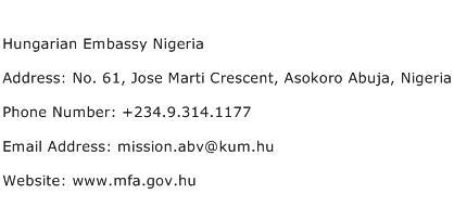 Hungarian Embassy Nigeria Address Contact Number