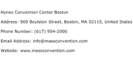 Hynes Convention Center Boston Address Contact Number