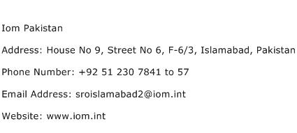 IOM Pakistan Address Contact Number