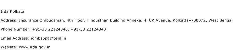 IRDA Kolkata Address Contact Number