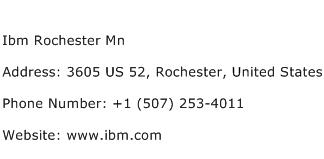 Ibm Rochester Mn Address Contact Number