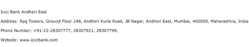 Icici Bank Andheri East Address Contact Number