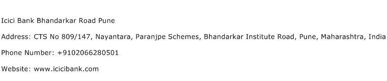 Icici Bank Bhandarkar Road Pune Address Contact Number