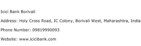 Icici Bank Borivali Address Contact Number