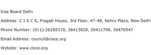Icse Board Delhi Address Contact Number
