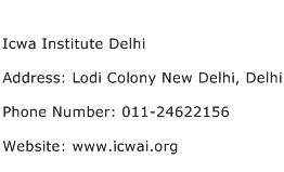 Icwa Institute Delhi Address Contact Number